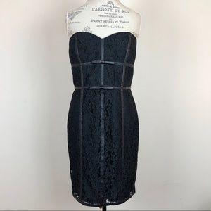 NWT Ann Taylor Black Strapless Lace Dress